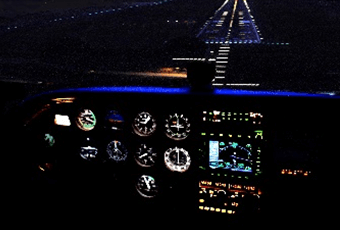 In-flight view with night time